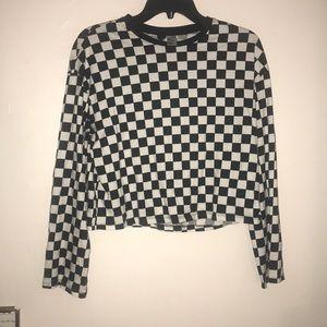 H&M checkerboard  crop T-shirt